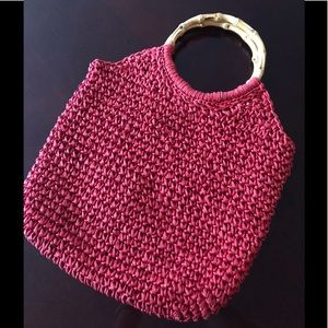 Red Woven Bag with Wooden Handles